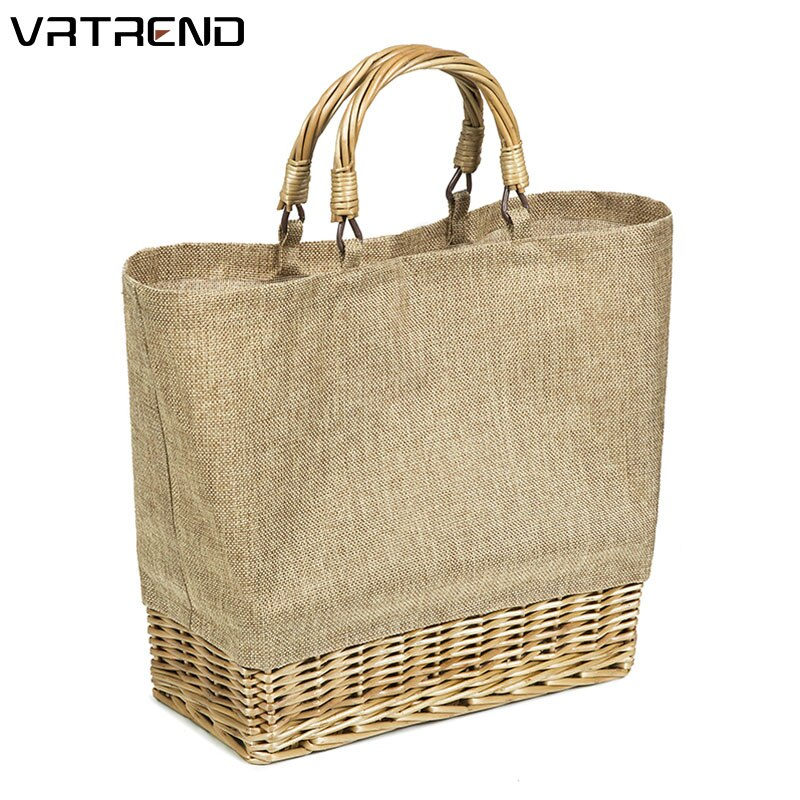 Bolso de paja VRTREND de PVC impermeable para mujer bolso de mano de ratán Bolsa de playa de verano para mujeres ocio señoras Bolsa femenina