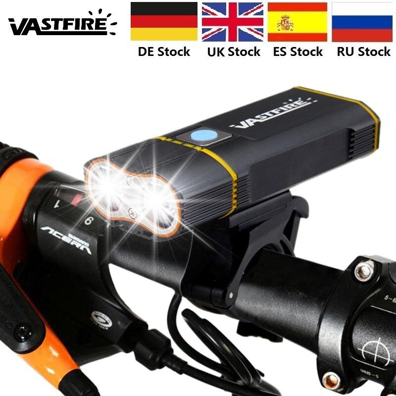 Manillar de bicicleta de montaña L2, luz frontal LED recargable de 1000 LM con batería + soporte incorporado de 6000 mAh