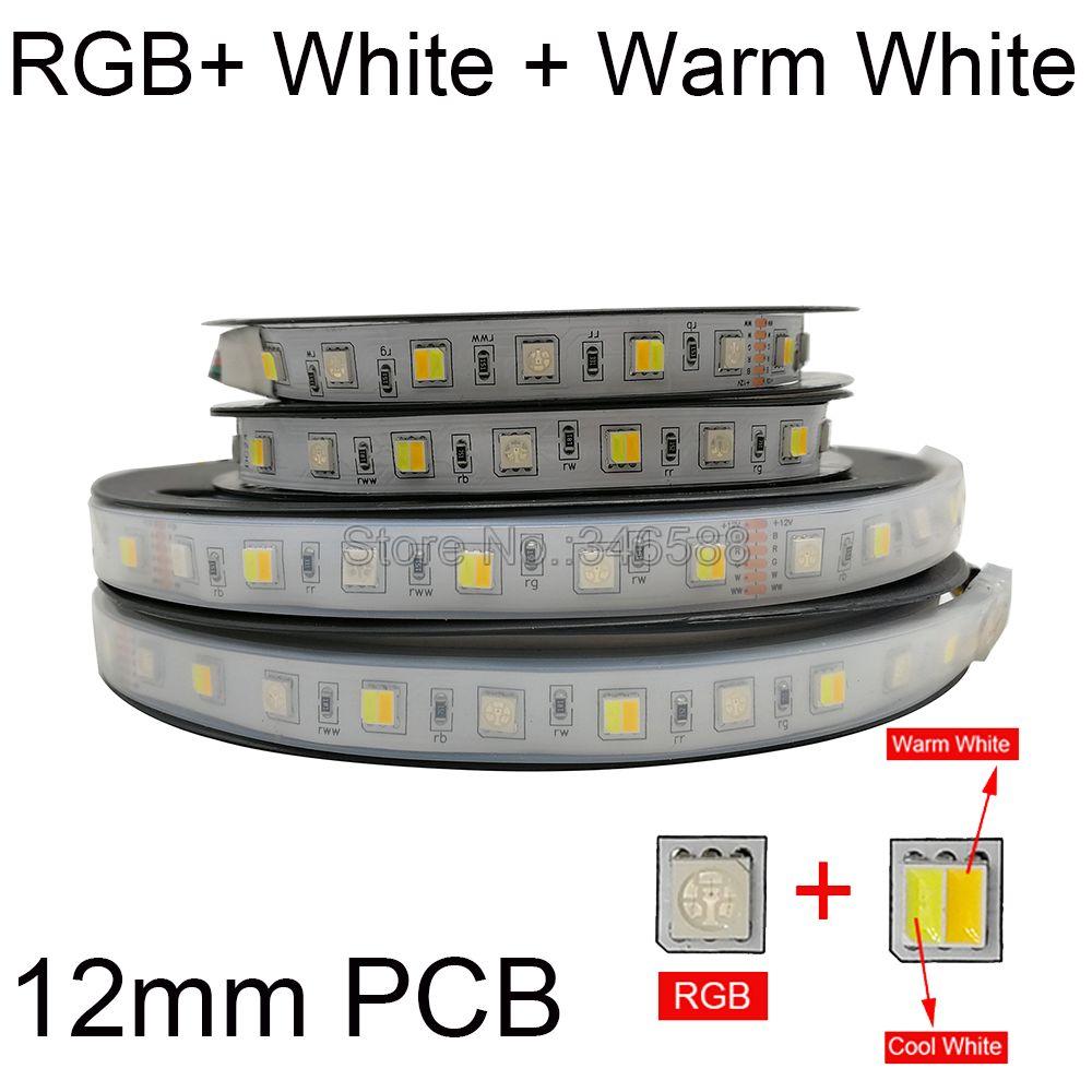 5m RGB + CCT LED Streifen RGB + CW + WW 2 in 1 5050 SMD Led Band Led streifen Bar Licht String Urlaub Dekoration Lichter 12V 24V 12mm PCB