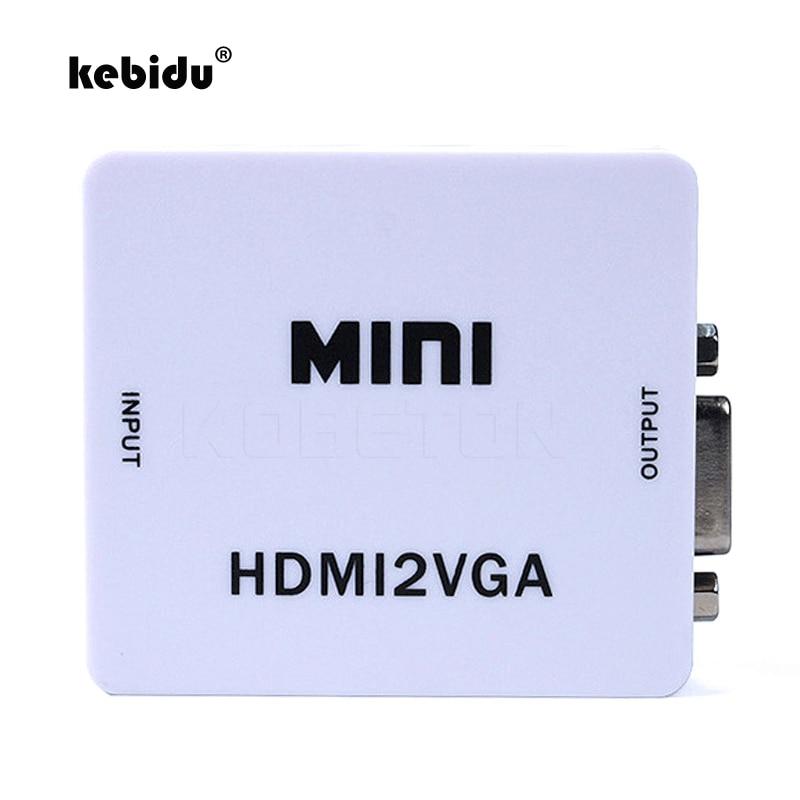 Kebidu Mini HDMI2VGA 1080P adaptateur connecteur HDMI vers VGA convertisseur avec Audio pour Xbox 360 PC portable vers HDTV projecteur DVD PS3