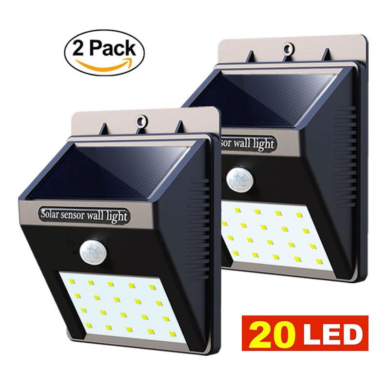 Luces Led solares para jardín, 2 uds., 20 luces LED de pared con Sensor de movimiento para exterior, lámpara infrarroja impermeable para el hogar, lámpara alimentada por energía Solar, 2 uds.