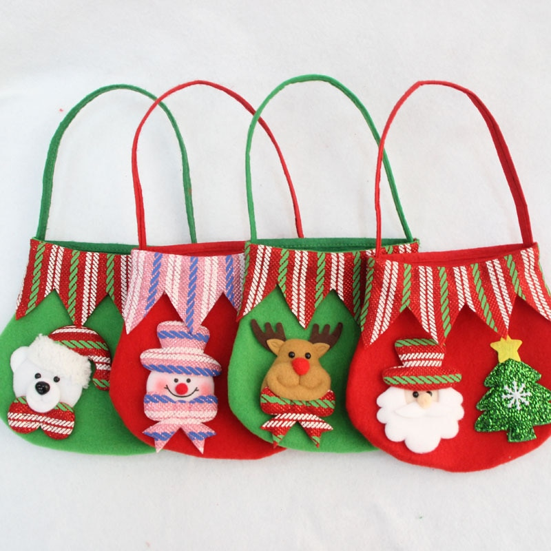 1 bolsa de dulces navideña de Papá Noel, muñeco de nieve, alce, oso, decoración navideña, bolsas de regalo pequeñas, suministros para fiesta en casa al por mayor de Año Nuevo