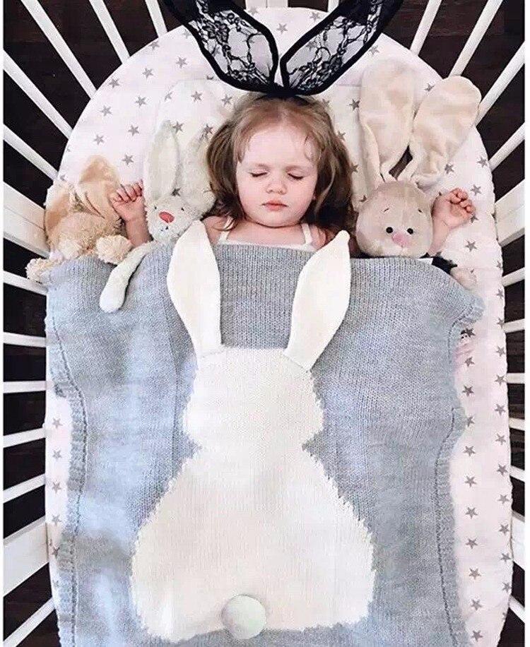 Ins Cartoon Kids Swaddle Plaid explosion rabbit ears children's cotton knitted blanket throw bedding sofa air mantas blanket