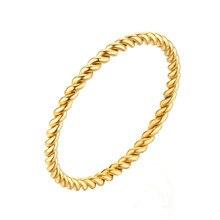 Anneaux ronds pour femmes 1.5mm mince or Rose/argent/or couleur torsion corde empilage anneaux de mariage en acier inoxydable bijoux