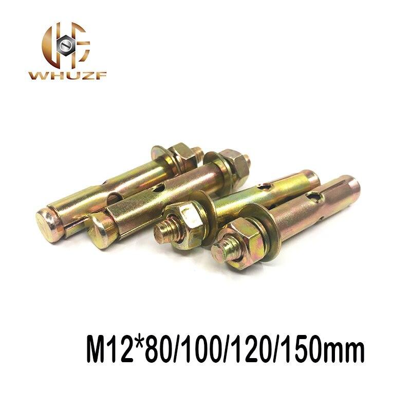 M12 * 80/100/120/150mm extensión galvanizada tornillo de expansión manga hormigón perno de anclaje
