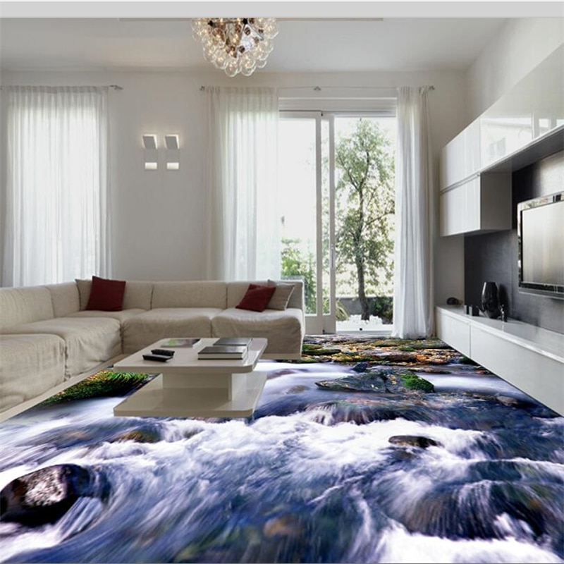 Wellyu personalizado piso 3d grande alta-definição de pedra de montanha sala de estar piso auto-adesivo pintura tridimensional