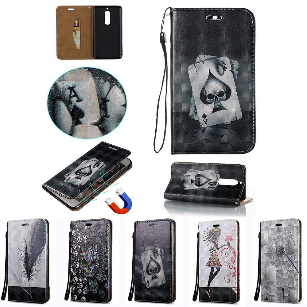 2018 para Nokia 7 funda Premium Edition (HMD C1N) tapa para Nokia7 mariposa billetera fundas de silicona teléfono móvil bolso de cuero