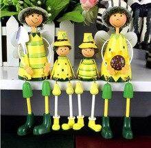 Darmowa dostawa! 2 sztuk/partia styl Postral rodzina słonecznika Haning Foot Doll ozdoby z żelaza dekoracje ścienne lalki dekoracji wnętrz