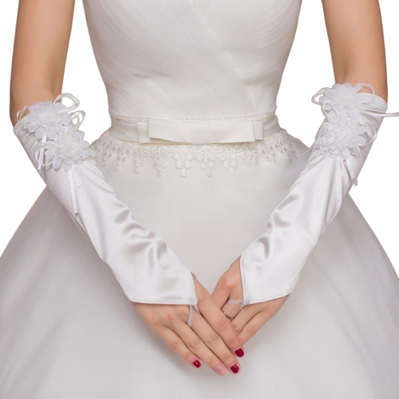 Wedding Fingerless Bridal Short Gloves Lace Floral Heart Rhinestone Bowknot Soft