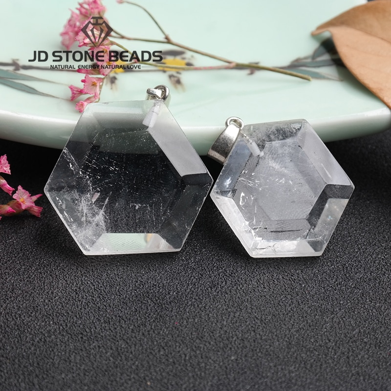 Free Shipping Natural Rock Quartz Geometric Shape Charms Pendants For Elegance Necklaces Making