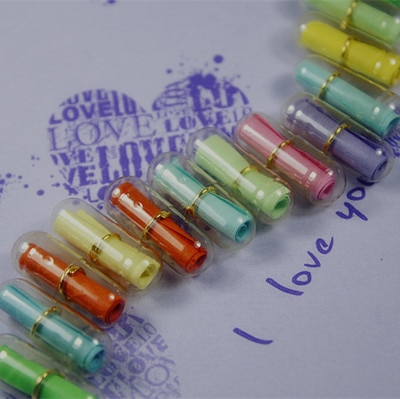 800 unids/lote mensaje en una botella de mensaje lindo cápsula carta de amor pastilla completamente transparentes Color Mini Botella de deseo papelería regalo de Navidad