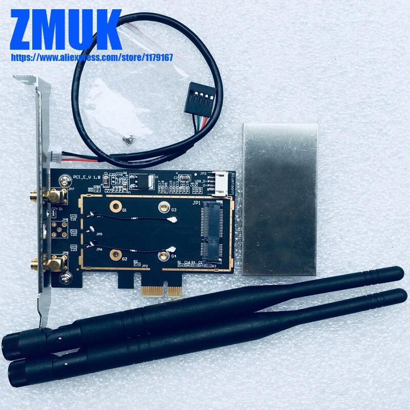 NUEVA tarjeta adaptador PCI Express Mini de escritorio con antenas para Mini-PCIE...