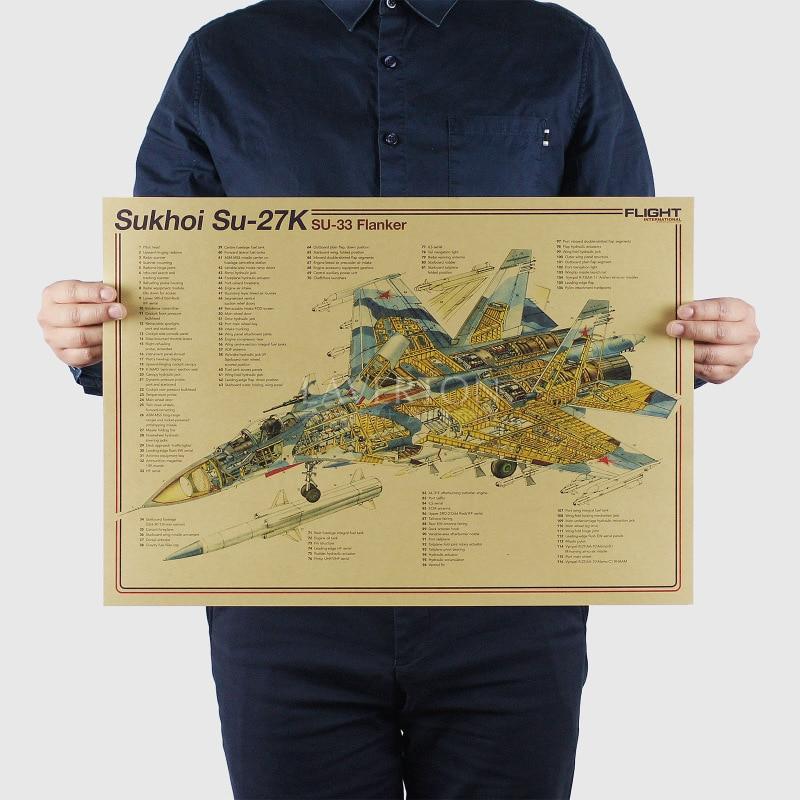 Sukhoi Su 27/Diseño de armas famosas/luchador/papel kraft/póster para Bar pegatinas de pared/póster Retro/pintura decorativa 51x35,5cm