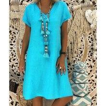 Trasporto di goccia 2020 Nuove Donne di Arrivo di Stile di Estate Beach Party Feminino Vestido T-Shirt In Cotone casual Più Il Signore di Formato Del Vestito 02 #