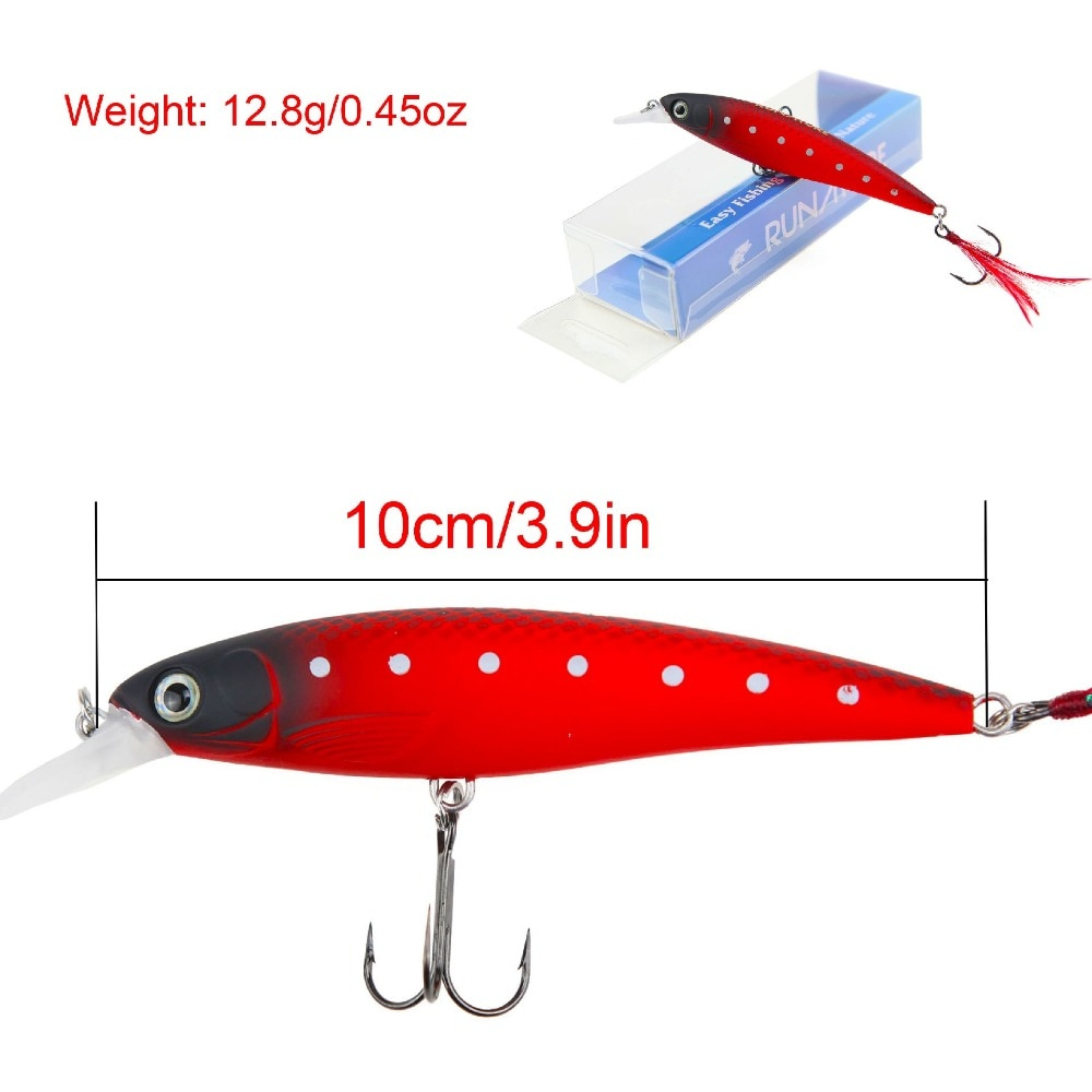 RUNATURE LUCK 2pcs/set Minnow Fishing Lure Bait 100mm 12.8g Fishing Wobbler Lure Crankbaits Artificail Hard Bait Minnow Fishing enlarge
