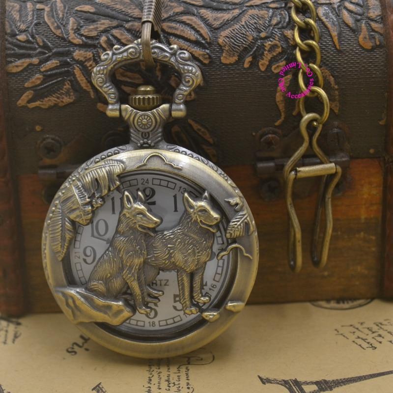 Bronze Wolf Hollow Quartz man Pocket Watch dog fob watches Necklace Pendant Women Men's Gifts brown vintage retro antique style