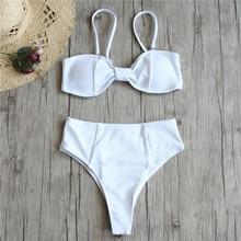 Bikini brésilien Sexy femmes maillots de bain solides maillot de bain string Bikinis Bow Biquini blanc maillot de bain taille haute bas