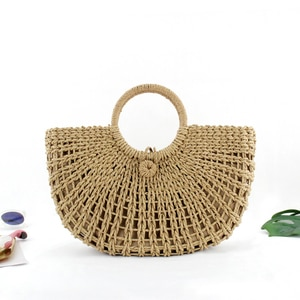 2018 Summer Rattan Handmade Knitted Round Beach bag Bali Women Circle Straw Bags Butterfly Bohemia Lady Purse Khaki Handbags