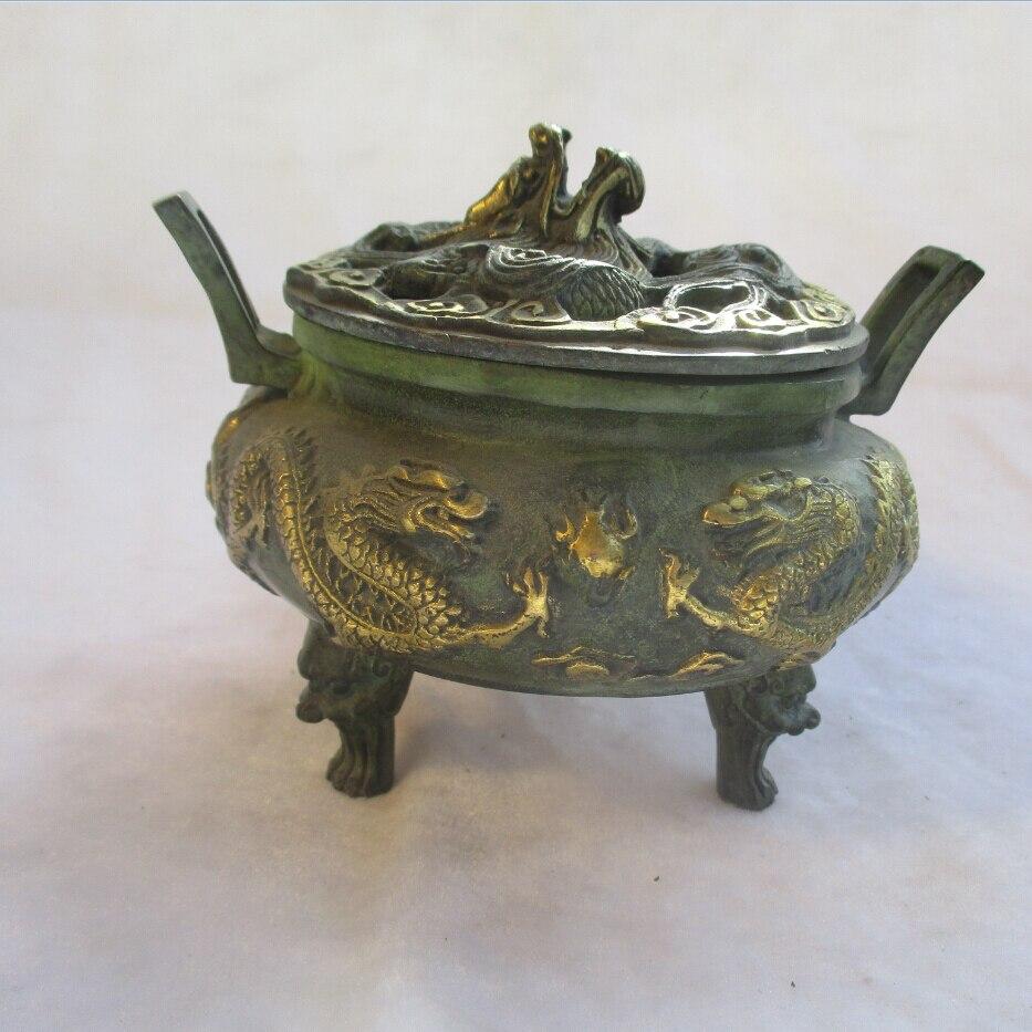 """Quemador de incienso/incensario antiguo chino bronce antiguo dorado tallado """"2 Dragón"""""""