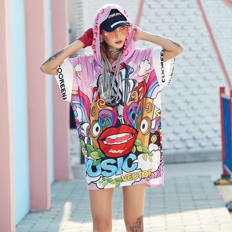 Nueva camiseta para mujer, camiseta estampada con personalidad de verano 2018 de tendencia europea, Camiseta holgada con diseño juvenil