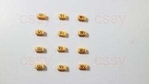 1000PCS 1.5-2.5mm2 Motor number cable marker U1 V1 W1 U2 V2 W2 yellow