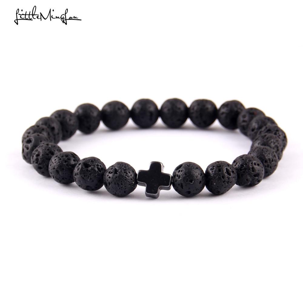 Natural stone Trendy God Jesus Cross Charm men bracelets Lava Stone Beads handmade Couple Bracelets & Bangles for women Jewelry