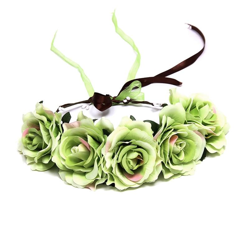 Floral Garland Wreath Rose Paper Flower Headband Crown Wedding Festival Hairband Headpieces Boho Decor Party Beach