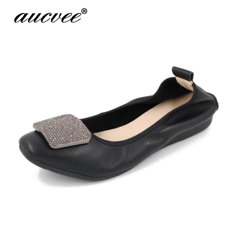 18 zapatos de bailarina de moda novedosa para mujer, cómodos zapatos nupciales de cuero genuino, zapatos planos de Ballet, zapatos planos plegables para embarazadas F1166