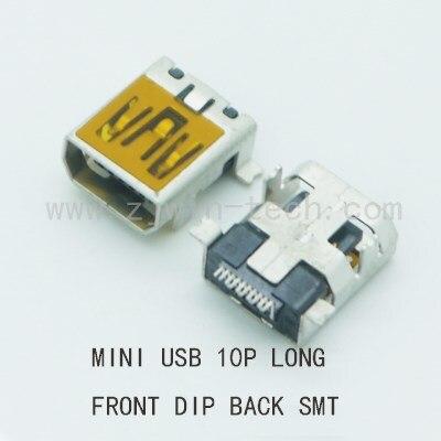 شحن مجاني 500 قطعة/الوحدة 10P USB صغير موصل الإناث الجبهة DIP عودة SMT طويلة الجسم