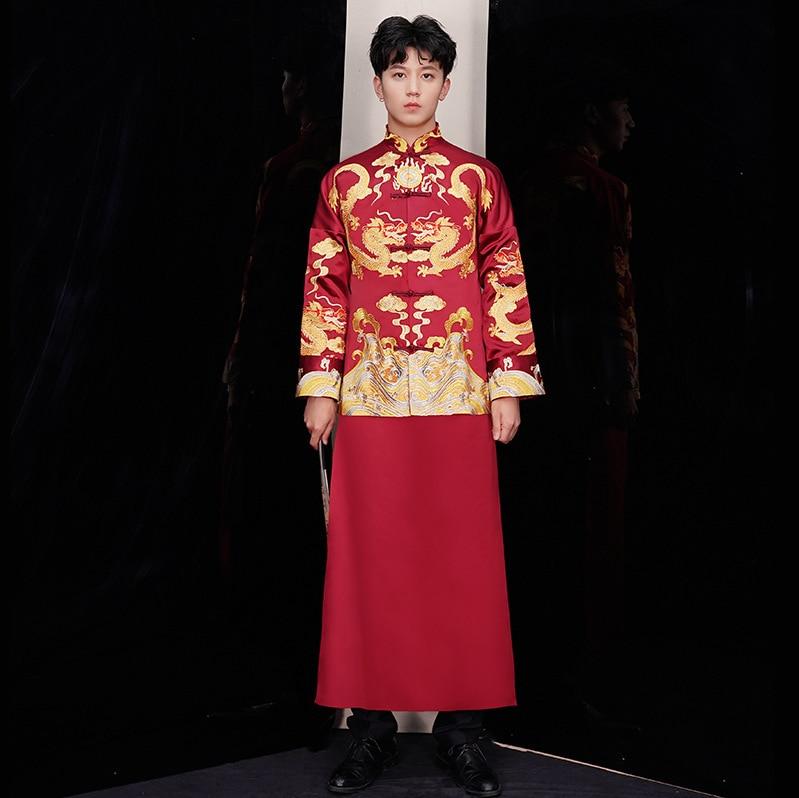 الأحمر العريس خمر فضفاض شيونغسام التقليدية الصينية ثوب زفاف الحرير تشيباو التطريز التنين زي Vestido الشرقية رجل