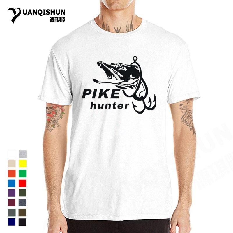 Мужская футболка с коротким рукавом Pike Hunter Fish, хлопковая Футболка с принтом в виде забавных рыбок, лето