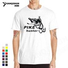 Été chaud brochet chasseur poisson hommes T-shirt mode drôle poissons imprimé T-shirt hommes à manches courtes t-shirts Top qualité coton T-shirt