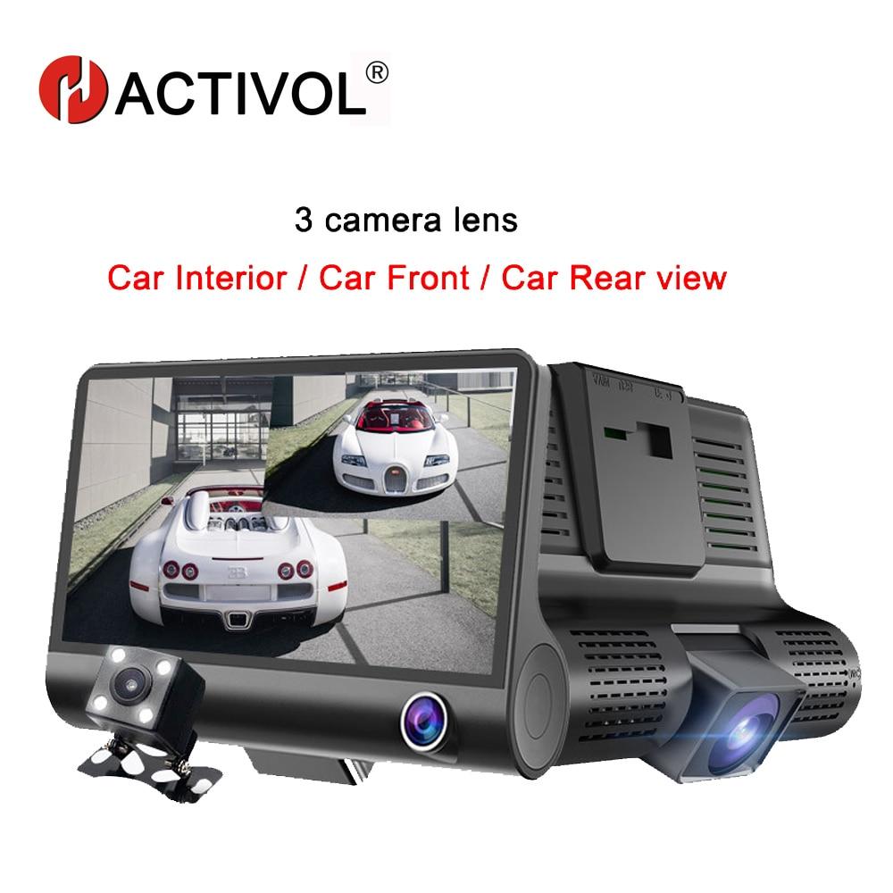 Автомобильный видеорегистратор HACTIVOL с 3 объективами, 4,0 дюйма, видеорегистратор, видеорегистратор, Автомобильный регистратор, двойной объе...