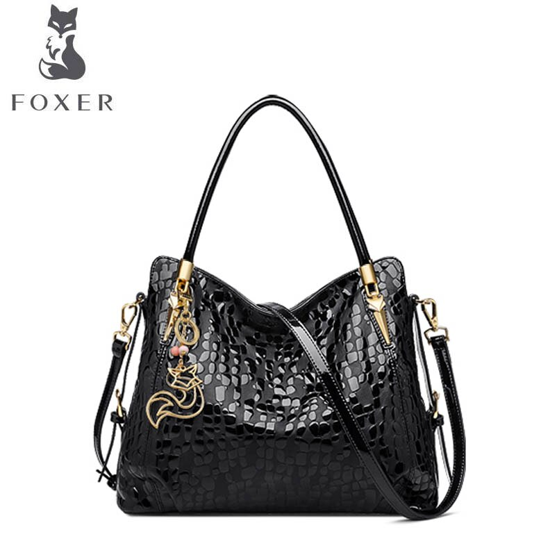 FOXER-حقيبة يد جلدية أصلية للنساء ، حقيبة يد فاخرة ، حقيبة كتف ، عصرية ، 2020