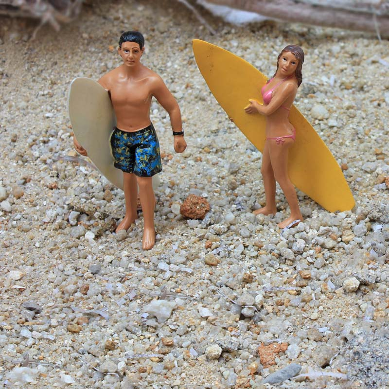 Figura de resina de surf para hombre y mujer, conjunto de 2 piezas, modelo de decoración