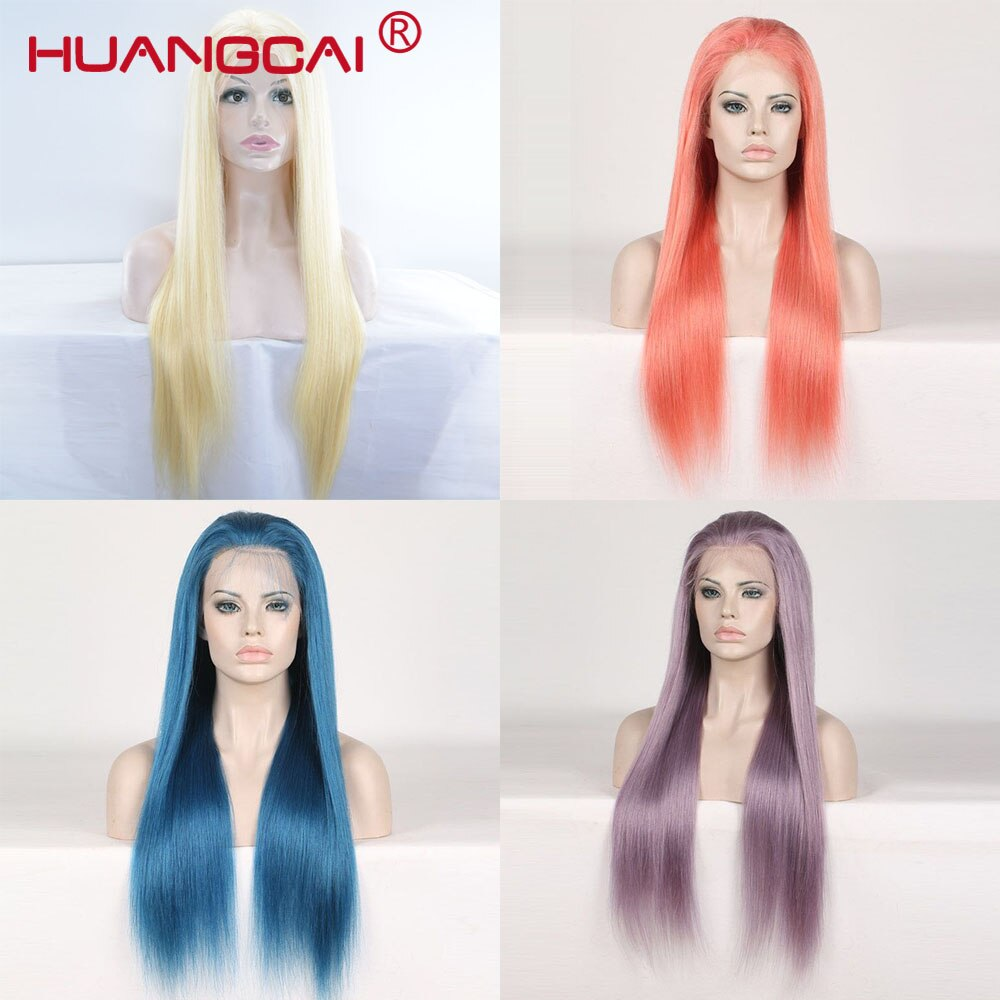 Pelucas de cabello humano con frente de encaje 13*4 pelucas 150% brasileñas Remy azul recto pelucas Rubio naranja púrpura prearrancadas con pelo de bebé