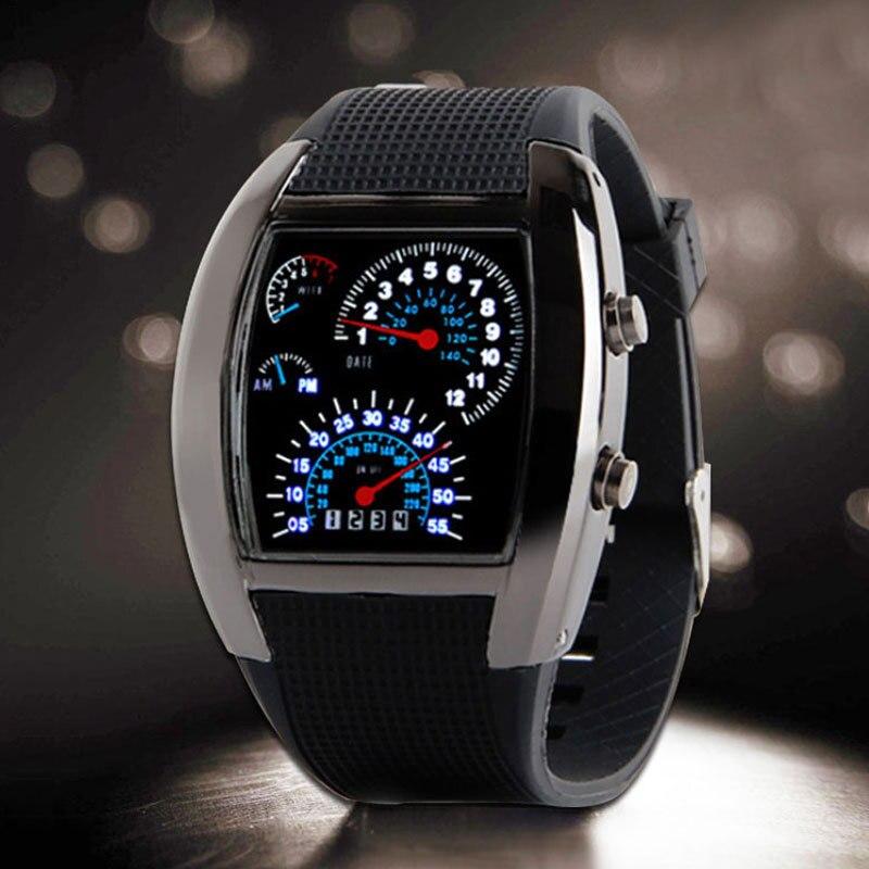 Led digital relógio instrumento painel design preto velocímetro de borracha digital relógios de pulso para meninos masculinos presente