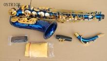 Brand New Ostrich ALTO SAXOPHONE Eb Sax - BLUE with GOLD keys, Non-stick Pads! Ne