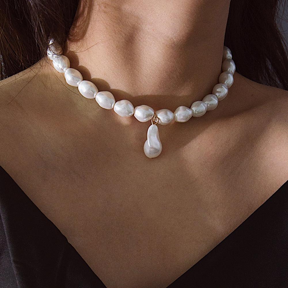 KMVEXO, collares de Gargantilla de perlas simulada irregulares barrocos para mujeres y niñas, precioso collar llamativo para fiesta, regalo de joyería de boda