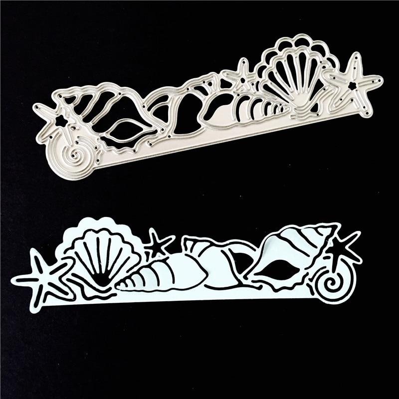Troqueles de corte de Metal mar mundo concha de pescado borderline para álbum de recortes decoración del hogar plantillas de grabado troqueles de corte