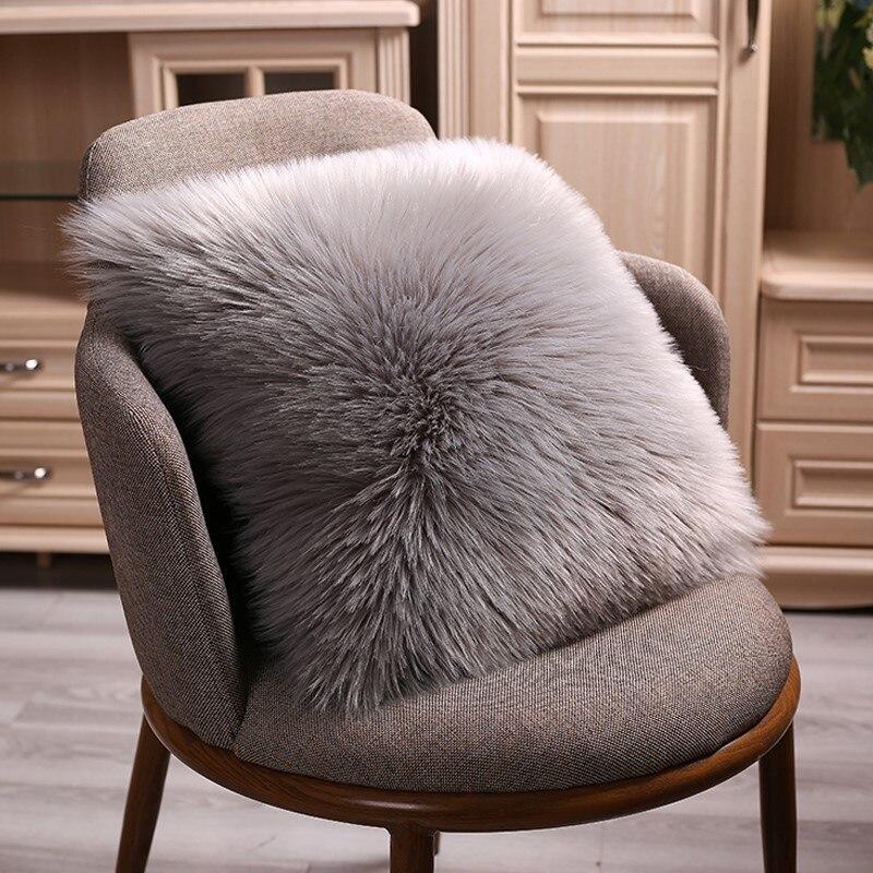 40/45/50cm alta qualidade europeu de pelúcia fronha capa de almofada de lã capa de pele do falso sofá cama fronha capa de travesseiro de natal