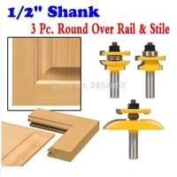 12 shanks round over rail stile with cove panel raiser 3 bit router bit set tenon cutter for woodworking tools