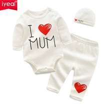 Iyeal bebê recém-nascido meninos roupas definir 2020 nova moda roupas da menina do bebê roupa de algodão manga longa macacão + calça chapéu 3 pçs/set
