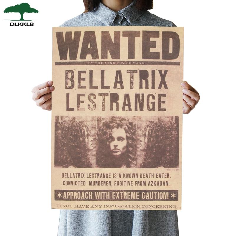 Cartel de película Dlkklb, película famosa, se busca Bellatrix letrange, cartel Retro de Kraft, Bar, café, Adhesivo de pared con pinturas decorativas