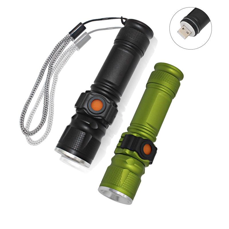 XML T6 3800LM LED Flashlight 3 Modes USB Rechargeable Built-in 18650 Portable Lamp Lantern Torch Zoomable Flash Light 3800lm cree t6 self defense safety hammer multi function outdoor survival usb solar energy rechargeable flashlight torch lantern