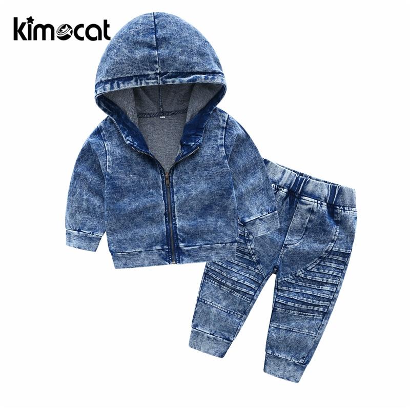 Kimocat-بدلة أطفال من الدنيم ، ملابس أطفال بأكمام طويلة مع غطاء للرأس ، مجموعات ملابس رياضية للأطفال الصغار ، مجموعة جديدة للخريف والربيع