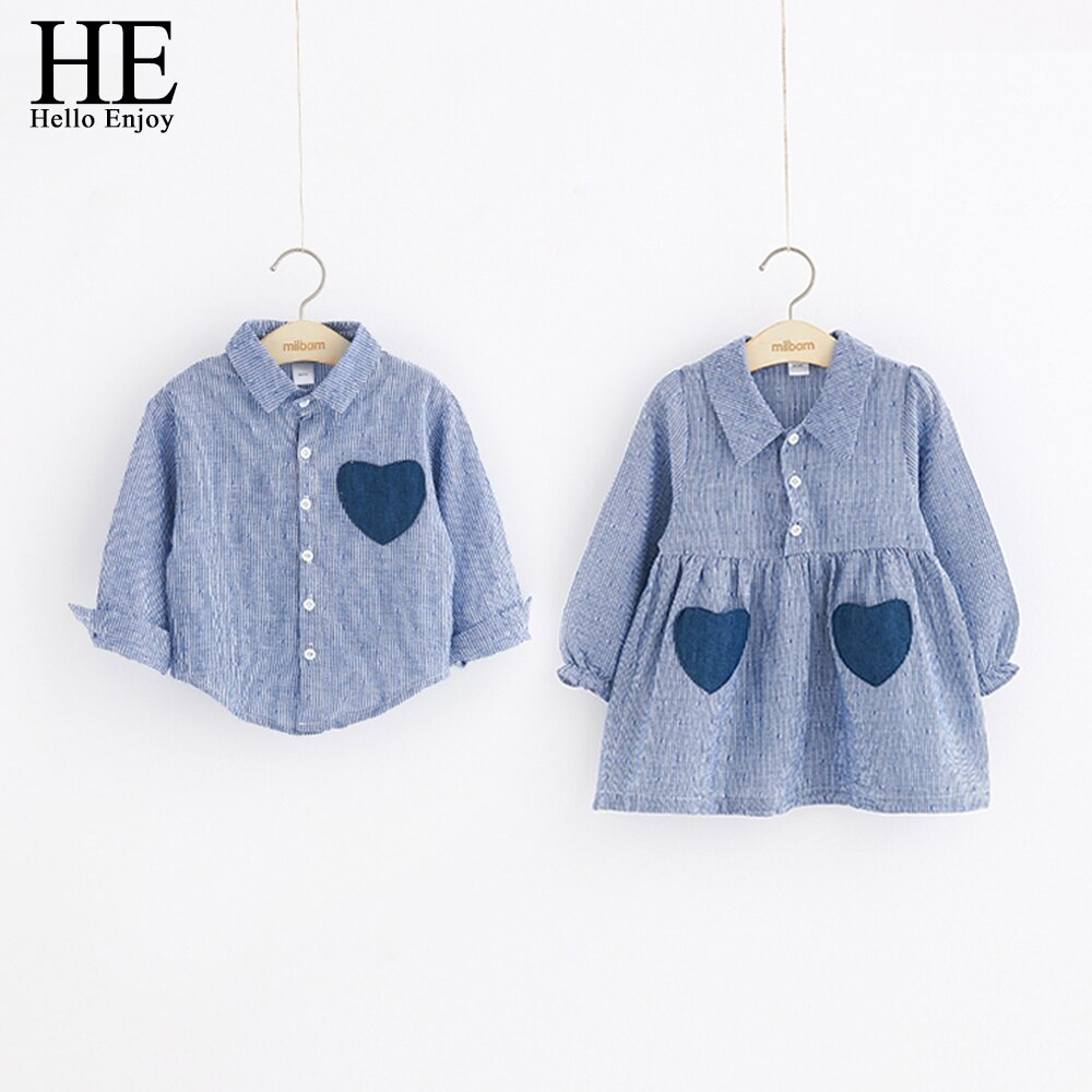 HE Hello Enjoy Girls vestidos primavera otoño niños Camisas manga larga amor bolsillo camisas y vestido de rayas hermano y hermana niños