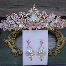 Barroco oro rosa cristal nupcial Tiara corona princesa reina desfile graduación Rhinestone velo Tiara diadema accesorios para el cabello de boda