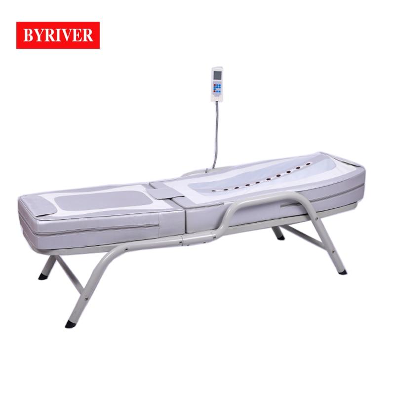 BYRIVER سرير تدليك, سرير حراري محمول بإطار معدني من الحديد اليشم طاولة علاج للتدليك مع التورمالين للساق