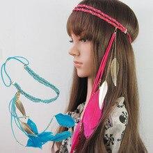 F29 double laine tissé bandeau chaîne couleur feuille pendentif plume cheveux cerceau bandeau cheveux 5 pièces/lot